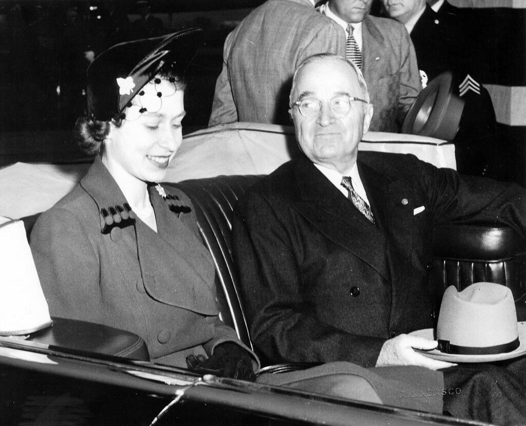 Photograph of President Harry S. Truman and England's Princess Elizabeth in Limousine, 10/31/1951