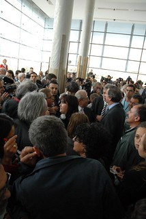 Crowds waiting for the first sculpture to arrive at the New Acropolis Museum | by elginism