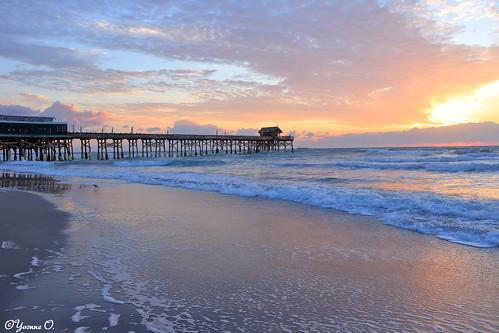 ocean sky beach water clouds strand contrast sunrise landscape pier meer wasser waves florida himmel sonnenaufgang wellen cocoabeach cocoabeachpier