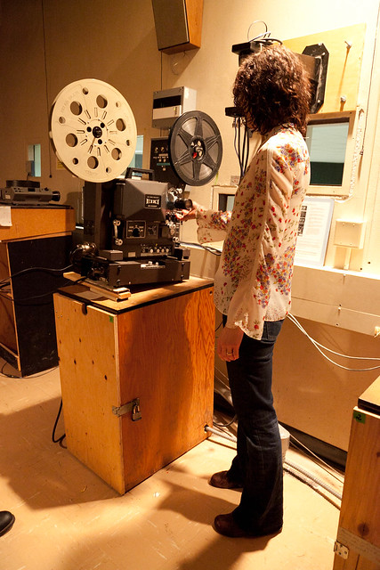 Elizabeth in the PLC projection booth