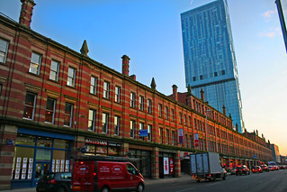 Deansgate - Long, old, red-brick horizontal  v  Tall, new, glass vertical | by the yes man