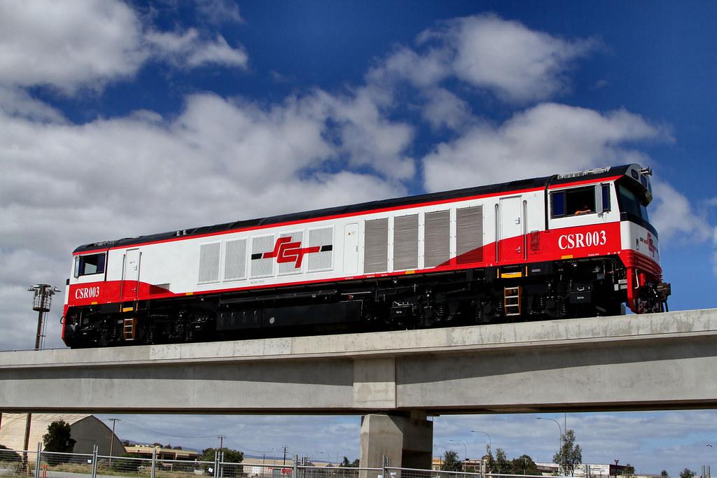 CSR003  light engine move Saint Mary McKillop Bridge Port Adelaide 17 03 2012 by Daven Walters