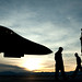 U.S. Air Force Airmen from the 28th Aircraft Maintenance Squadron prepare for a B-1B Lancer to launch during the Red Flag combat training exercise at Nellis Air Force Base, Nev.  (U.S. Air Force photo by Staff Sgt. Christopher Hubenthal)