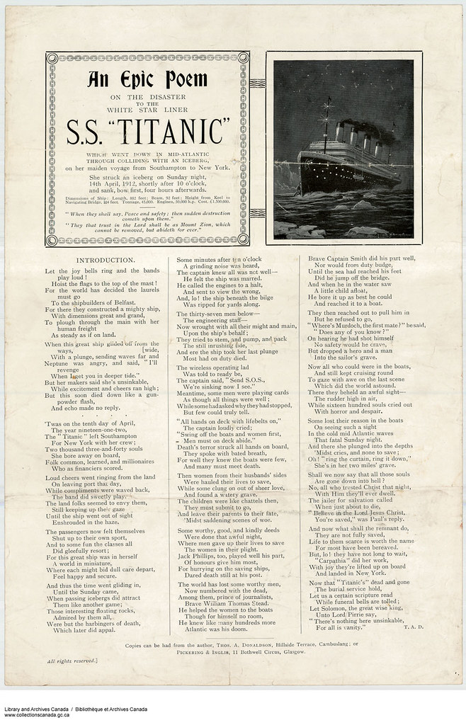 Poem Relating To The Sinking Of The Rms Titanic Ss Titani
