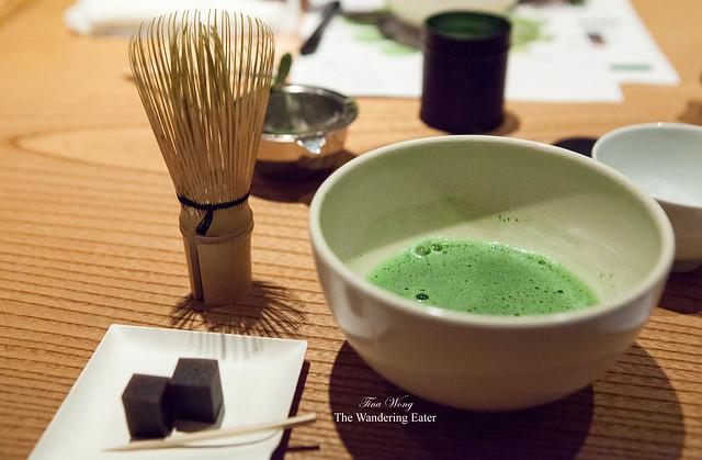 My cup of matcha (Kan-no-shiro matcha) served with yokan from Kyoto