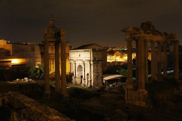 Forum at night.