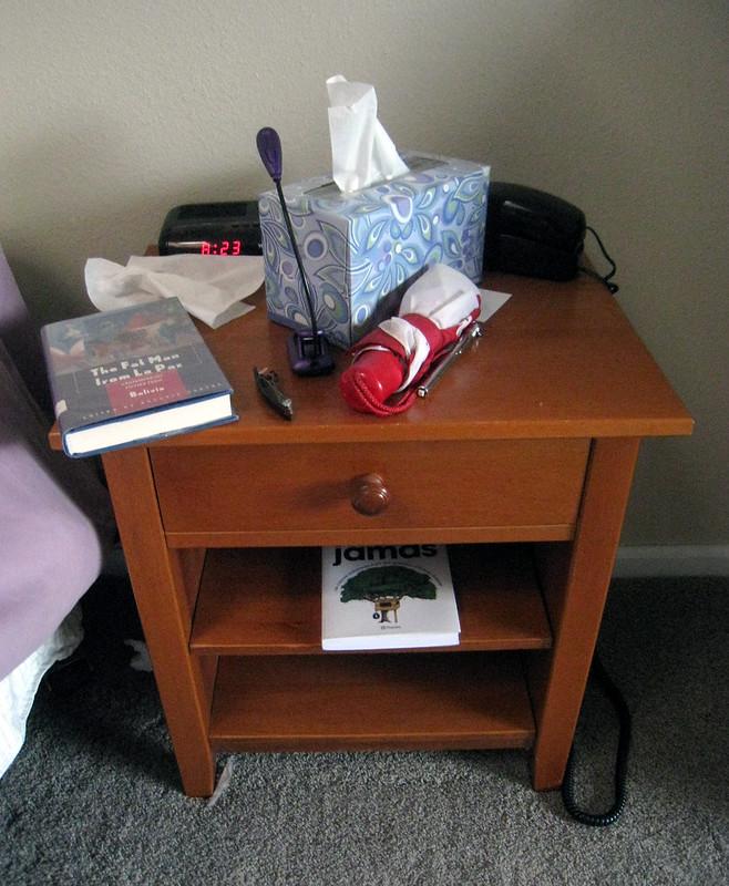 Bedside table clutter