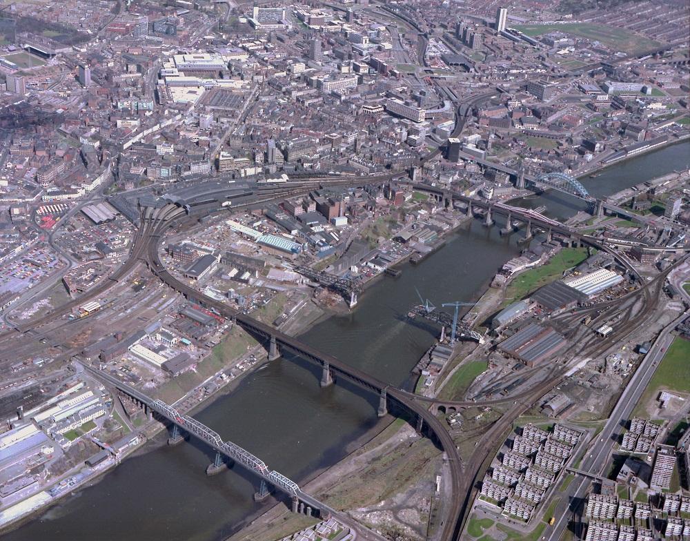 Metro Bridge under construction across the River Tyne
