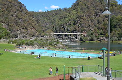 First Basin pool and suspension bridge