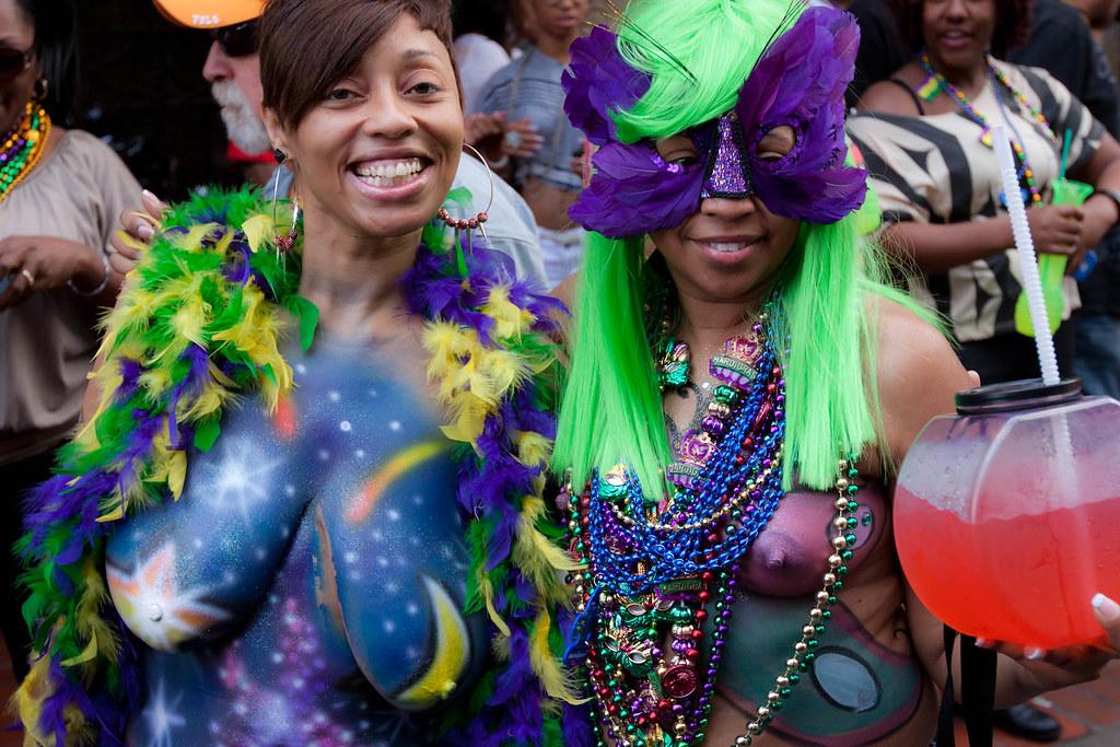 Flashing For Mardi Gras Beads
