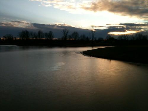 winter sunset lake nature frozen