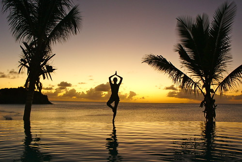 cocobay sunset yoga palm tree infinity pool | by Photo Quintessence
