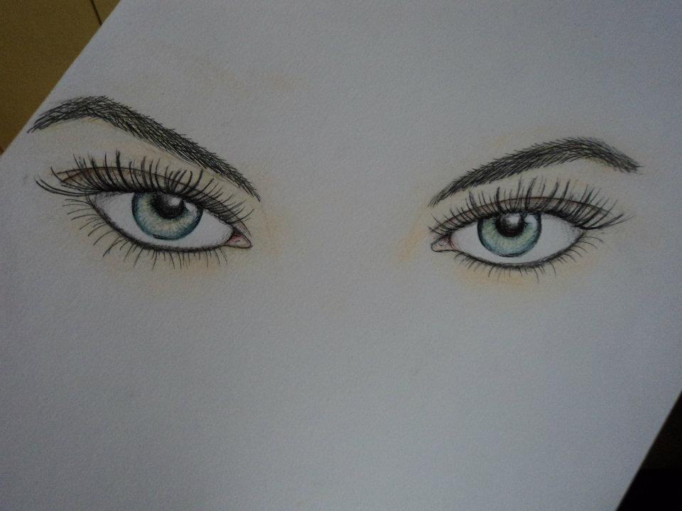 Olhos Femininos Desenho Feito Com Caneta Nanquim Giz Past Flickr