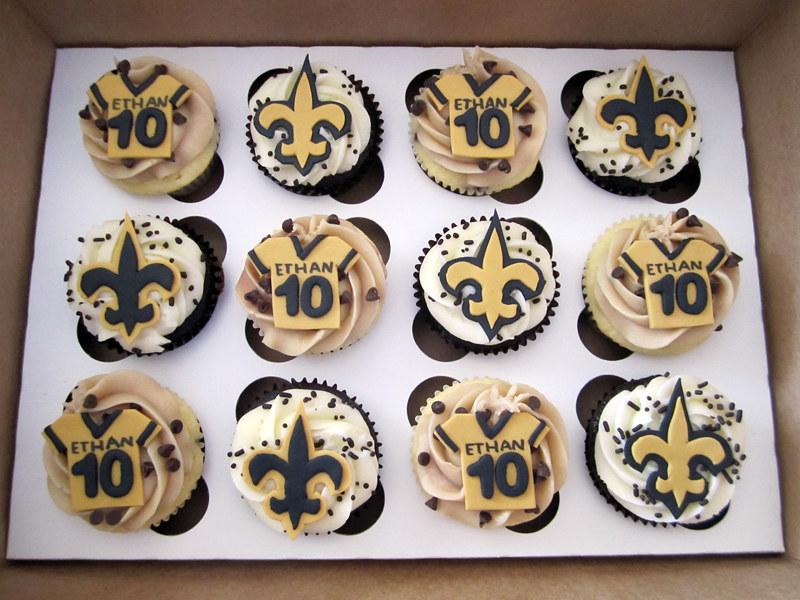 New Orleans Saints Birthday Cupcakes