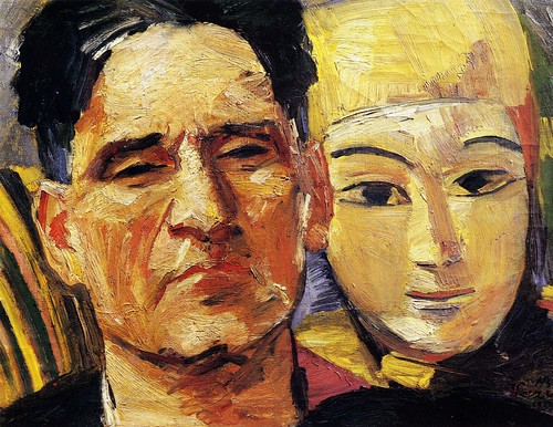 Saryan, Martiros (1880-1972) - 1933 Self-Portrait with a Mask (Museum of Oriental Art, Moscow, Russia) | by RasMarley