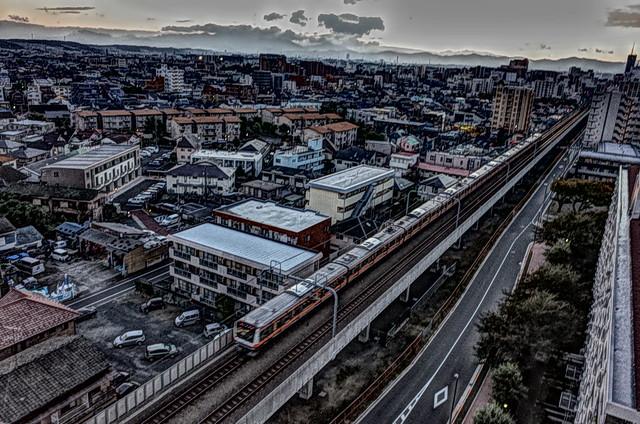 Train running in Tokyo Suburbs