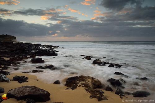 shoreline coastline lava rocks pacific landscape nature morning daybreak dawn sunrise cloudy dramatic windy surf white water rush horizon colors subtle breathtaing etbtsy kauai hawaii shipwreck south solitary distance thought
