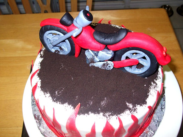 Motor bike birthday cake