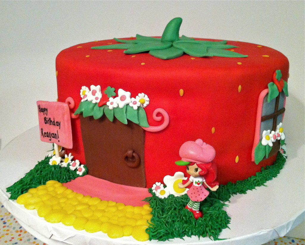 Superb Strawberry Shortcake Birthday Cake Fondant Covered 3 Layer Flickr Personalised Birthday Cards Cominlily Jamesorg