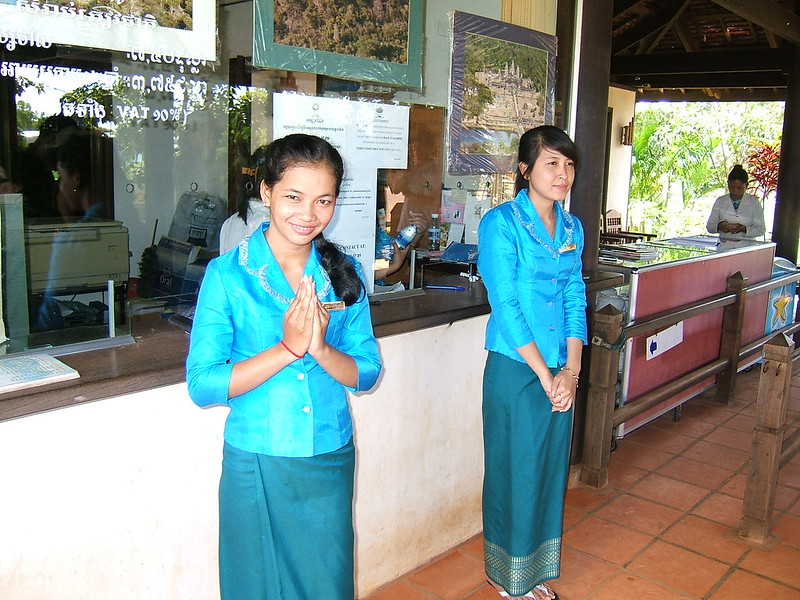 A typical Thai style 'wai'- same style here in Cambodia too!