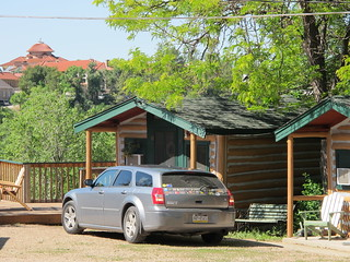 Hot Springs, SD: Our car in front of our historic log cabin | by mormolyke