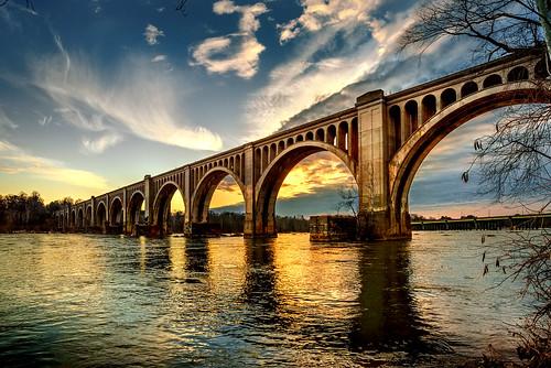 bridge light sunset love river james golden virginia crossing richmond va rva stubborn