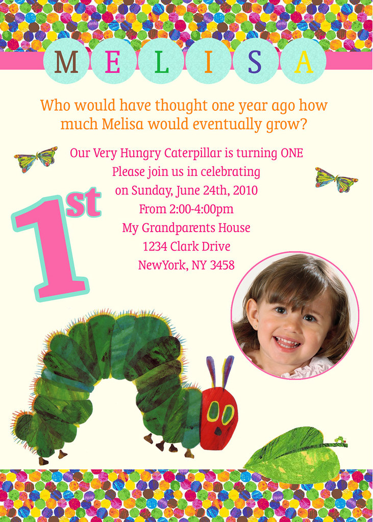 Very Hungry Caterpillar Custom Birthday Invitation Flickr
