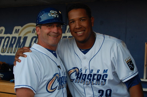 Salvador Perez mugging with Omaha manager Mike Jirschele | by Minda Haas Kuhlmann