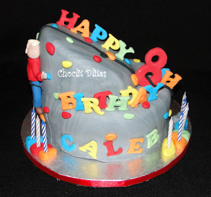 Rock Climbing Wall Cake Chocolate Sponge Covered With