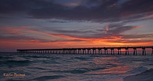 red sky sun beach water yellow clouds evening pier florida springbreak panamacitybeach 2012 suset