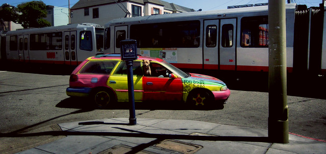 pit bull in a colorful station wagon, Judah St; The Sunset, San Francisco