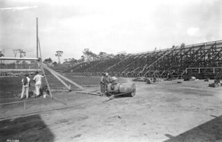 Football stadium during construction at University of Miami: Coral Gables, Florida