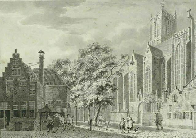 Jacobikerk en Jacobskerkhof 1790. Coll. Het Utrechts Archief.