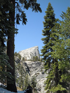 Hiking (and Climbing) Half Dome: First decent view of the rock on the hike up | by mormolyke