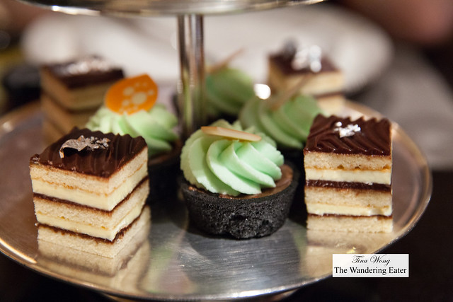 Opera cake, chocolate tart with mint frosting