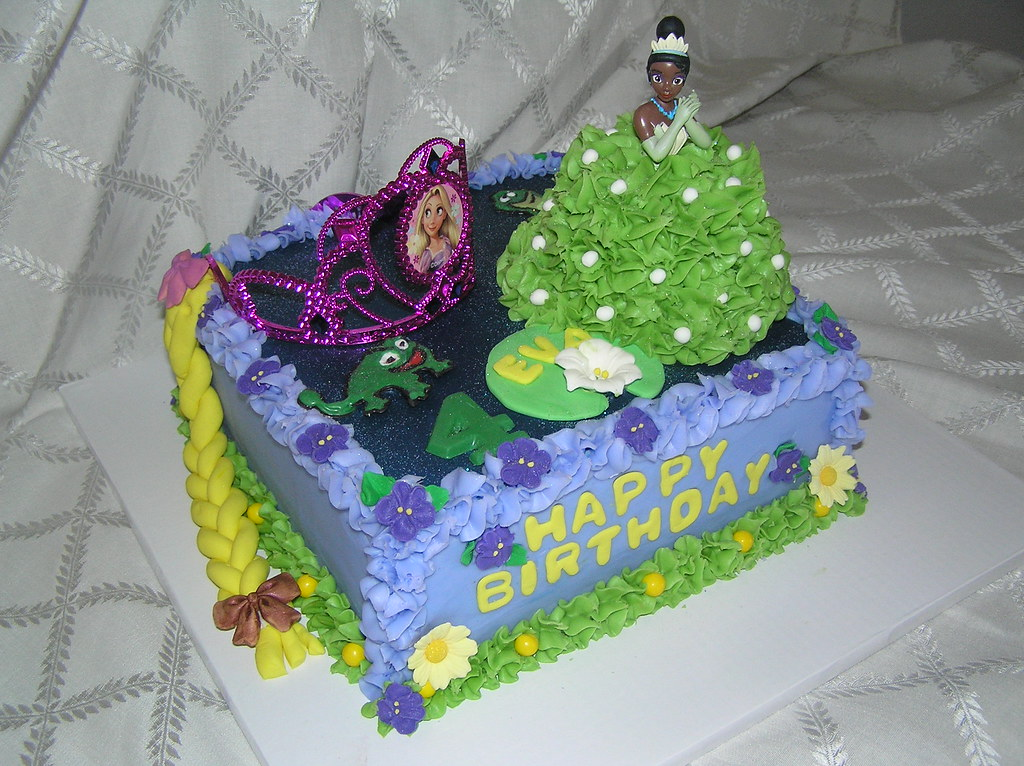 Fantastic Combo Tiana And Rapunzel Birthday Cake Four Year Old Eva R Flickr Funny Birthday Cards Online Aeocydamsfinfo