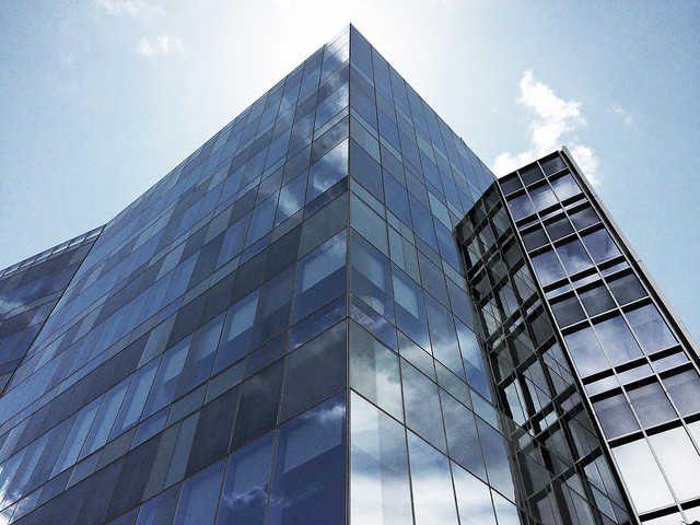 building reflections blue monochromatic effect (Explored)