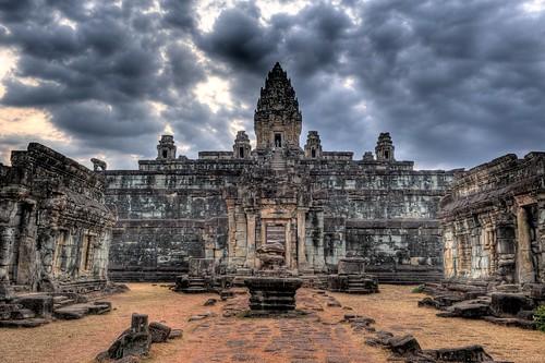sunset sky sun wall clouds stairs asian nikon ruins rocks asia cambodia dramatic angkorwat staircase southeast siemreap setting hdr highdynamicrange kampuchea lolei photomatixpro roluosgroup bakongtemple d700 2470mmf28g nathanhortonphotographytour