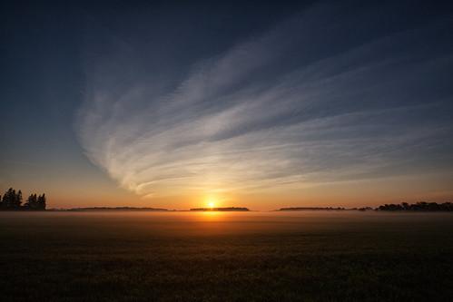 markheine cirrus clouds countryroad farm field fog mist sky sun sunrise elmira ontario canada ca
