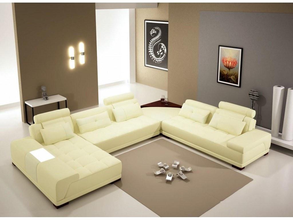 Furniture Modern Bonded Leather U Shaped Sectional Vanilla