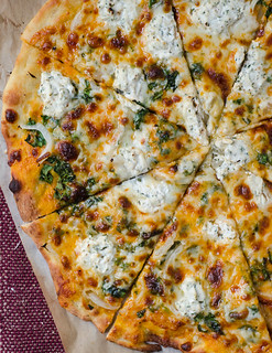 Creamy Pumpkin Pizza with Truffled Gouda and Herbed Ricotta | by Pink Parsley Blog