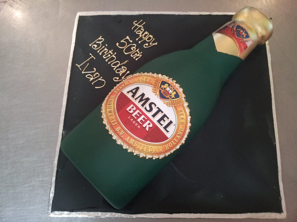 Admirable 3D Amstel Beer Bottle Shaped Wicked Chocolate Cake Covered Flickr Personalised Birthday Cards Epsylily Jamesorg