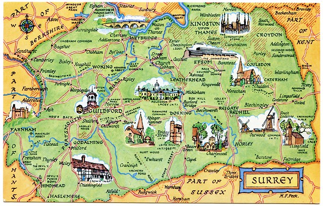 Postcard map of Surrey