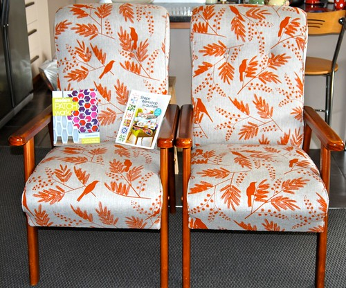 Thrifted chairs with Ink and Spindle fabric