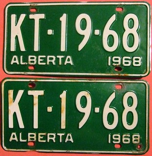 ALBERTA 1968 ---LICENSE PLATE PAIR WITH 1968 DATE IN SERIAL NUMBER