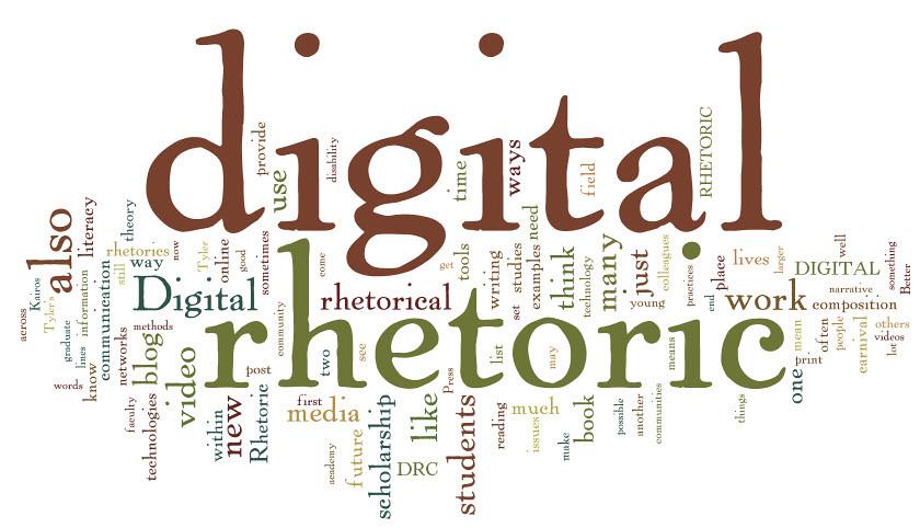 Word cloud diagram of words related to digital rhetoric