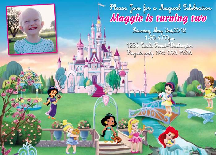Disney Baby Princess Custom Birthday Invitation