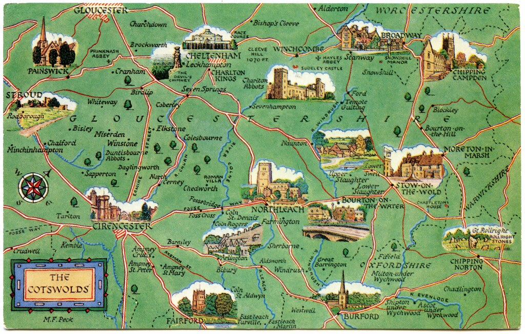 Map Of The Cotswolds Postcard map of the Cotswolds | Drawn by M F Peck. J Salmon,… | Flickr