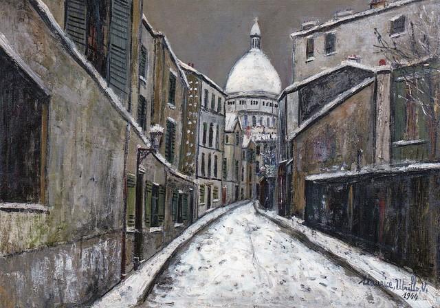 [ U ] Maurice Utrillo - Rue Saint-Rustique, Montmartre in the snow (1944)