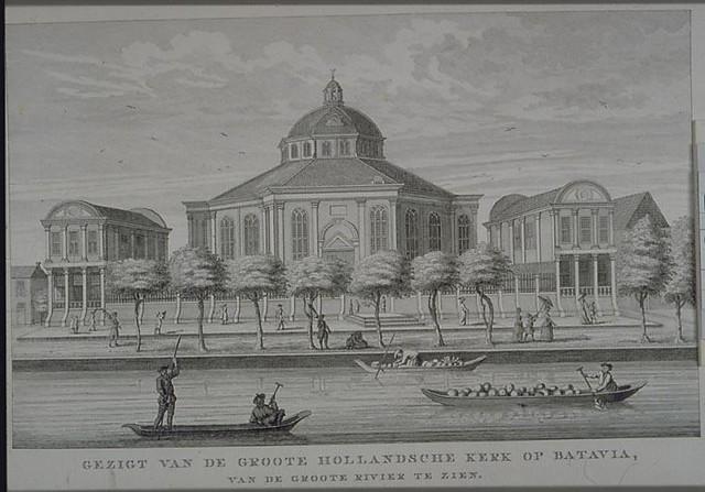 Grote Hollandse Kerk in Batavia. Gravure naar een tekening van Johannes Rach (1871). Afbeelding: Geheugen van Nederland.